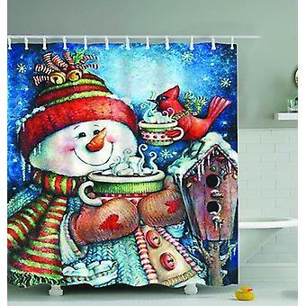 Vintage Snowman Painting Shower Curtain