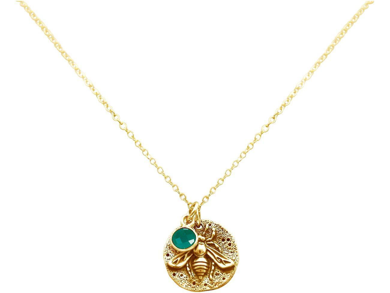 Gemshine BIENE Halskette Münze Anhänger 925 Silber, vergoldet, rose - Smaragd