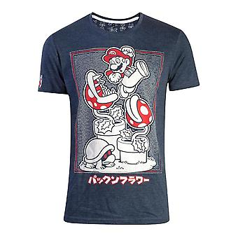 Nintendo Super Mario Bros. Piranha kasvi T-paita Unisex Extra erittäin suuri sininen