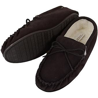 Mens Brown Moccasin Schapenvacht Slipper met Hard Sole