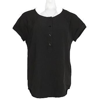 Linea by Louis Dell'Olio Women's Top Short Sleeve Scoop Neck Black A266302