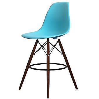 Charles Eames Style Pearl Blue Plastic Bar Sgabello - Gambe di noce