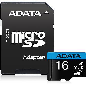 ADATA メモリ カード MicroSDHC マイクロSDHC マイクロSDアダプター A1-16GB - ブラック