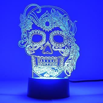Dziewczyna Feather Candy Dzień The Dead Candy Skull Kolor Zmiana LED Akrylowy Światło