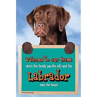 Faithful Friends Collectables Welcome 3d Hang-up Labrador (chocolate)