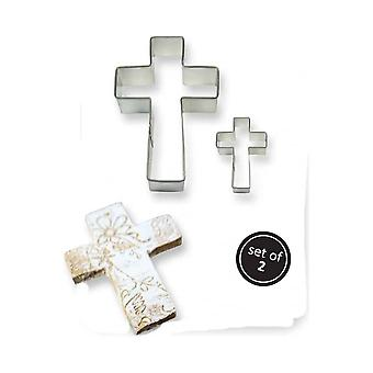 PME Stainless Steel Cake & Cookie Cutter Set Of 2 - Cross