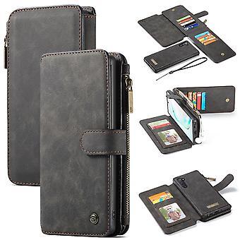Para Samsung Galaxy Note 10 Case, Carteira PU Couro Destacável Flip Cover, Preto