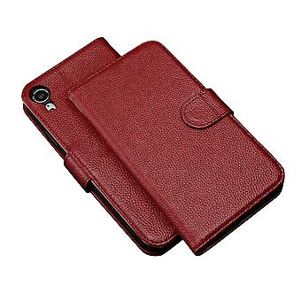 Fashion Red Cowhide Genuine Leather Wallet For iPhone XR Case