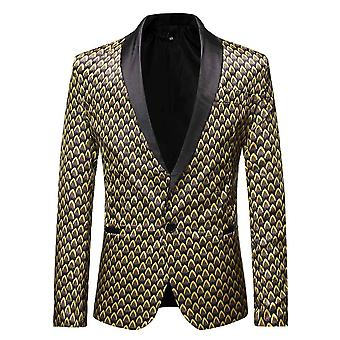 Allthemen Men's 1 Button Sport Coat Printed Shawl Lapel Wedding Event Dress Blazers