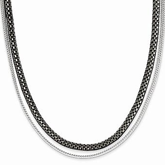 925 Sterling Silver Black Rhodium 2 Strand Woven And Box Link Necklace 17 Inch Jewelry Gifts for Women