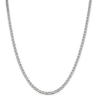 925 Sterling Silver 4mm gepolijst plat nautisch schip Mariner Anchor Chain Enkelband Sieraden Geschenken voor vrouwen - Lengte