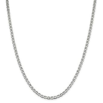 925 Sterling Silver 4mm Polonês Flat Náutico Ship Mariner Anchor Chain Ankle Bracelet Joias de Joias para Mulheres - Comprimento