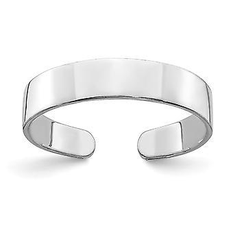 14 k Gold weiß verstellbar hoch polnische Band Zeh Ring Schmuck Geschenke für Frauen - .7 Gramm