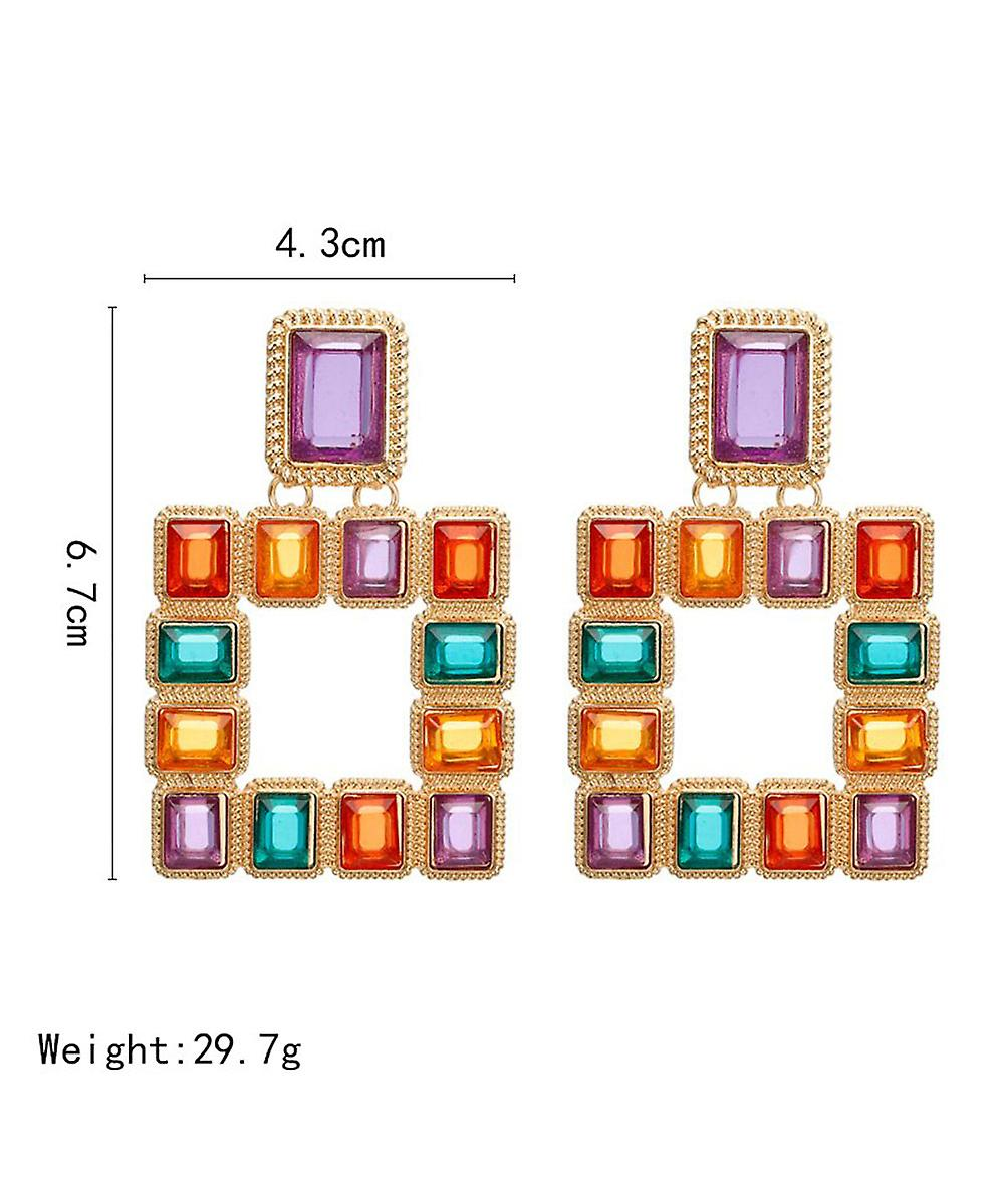 Square Multicolour Crystals Drop Earrings