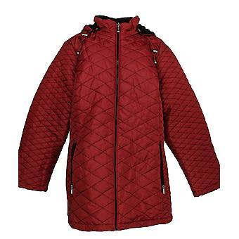 Susan Graver Frauen's Plus gesteppte Zip Front Jacke w / Kapuze rot A344510