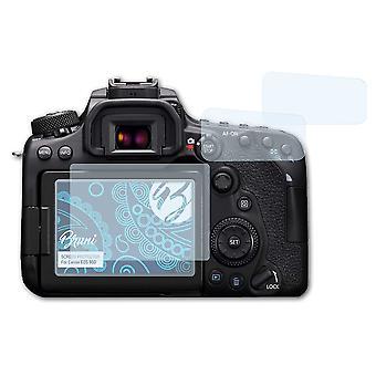 Bruni 2x Skärmskydd kompatibel med Canon EOS 90D skyddsfilm