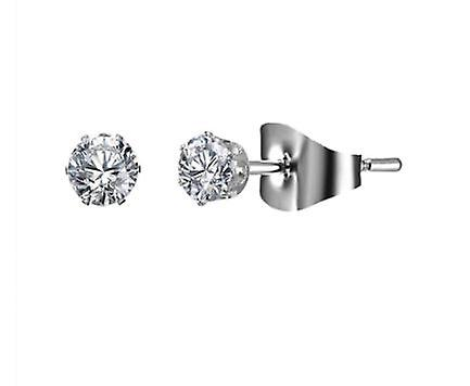 Silver Stud Earrings with Crystals - 4mm