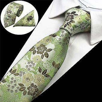 Green & brown floral tie cuff link & pocket square set