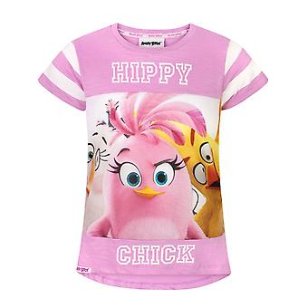 Angry Birds Hippy Chick Girl's Roze en Wit T-shirt