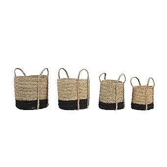 Light & Living Basket Set Of 4 Max 35x32cm Gefen Natural And Matted Black