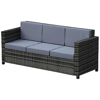 3-Seater Rattan Sofa w/ Tough Metal Frame Padded Cushions High Back Stylish Outdoor Seat Patio Furniture Mixed Grey