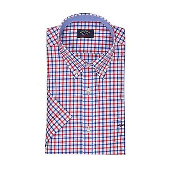 Paul & Shark Paul And Shark Short Sleeved Shirt Red Blue White Multi Check
