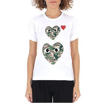 Comme Des Garçons Play P1t2451 Women's White Cotton T-shirt