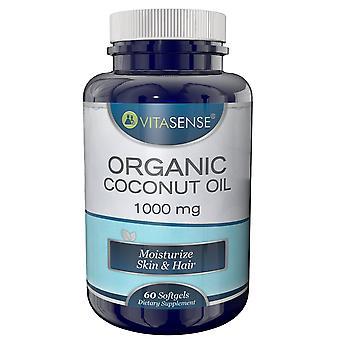 VitaSense Organic Coconut Oil 1000 Mg - Moisturise Skin & Hair - 60 Softgels