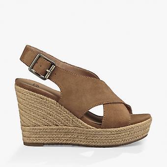 UGG Harlow Ladies Suede Wedge Sandals Chestnut
