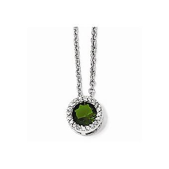Cheryl M 925 Sterling Silver Glass Simulated Emerald and Cubic Zirconia Pendant Necklace 18 Inch Jewelry Gifts for Women