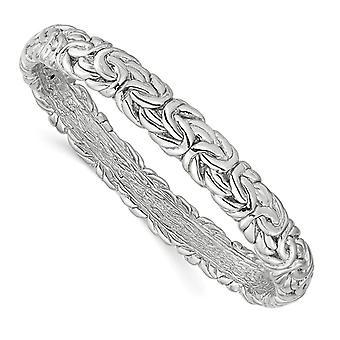 9mm 925 Sterling Silver Rhodium plaqué byzantine manchette Stackable Bangle Bracelet Bijoux Cadeaux pour les femmes