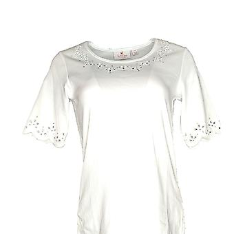 Quacker Factory Women's Top (XXS) Scalloped T-Shirt White A274007