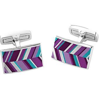 Duncan Walton Russet Luxury Enamel Chevron Cufflinks - Purple
