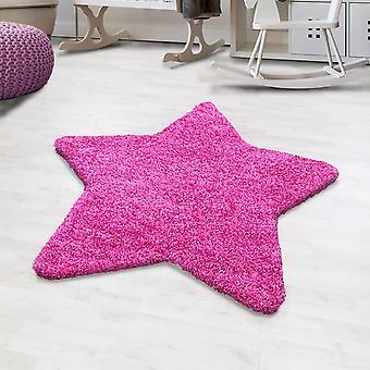 Shaggy hoge flor tapijt effen kleur roze ster vorm kinderdeken kwekerij mat