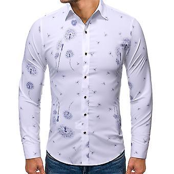 Allthemen Men's Dandelion Printed Lapel Long-Sleeved Shirt