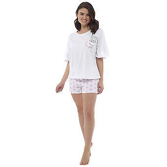 """Teacup Kitty"" Pyjama Short Set With Ruffle Sleeve"