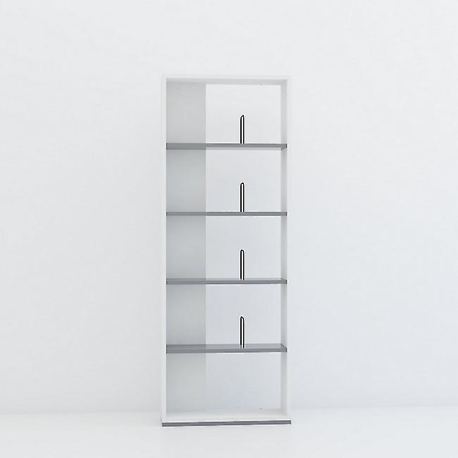 Libreria Swan Color Bianco, Antracite in Truciolare Melaminico 60x22x163 cm