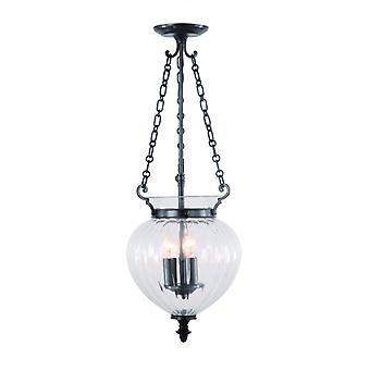 Finsbury Park Pendant Light, Aged Bronze And Glass, 27 Cm