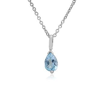 Classic Pear Blue Topaz Pendant Necklace in 9ct White Gold 25660