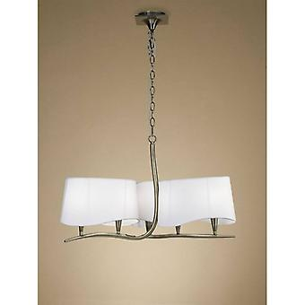 Pendant Lamp Ninette 3 Arm 6 Bulbs E14, Antique Brass With Ivory White Lampshades