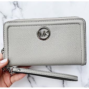 Michael kors jet set fulton large phone wristlet wallet pearl grey leather