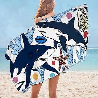 Coral and Sharks  Microfiber Beach Towel