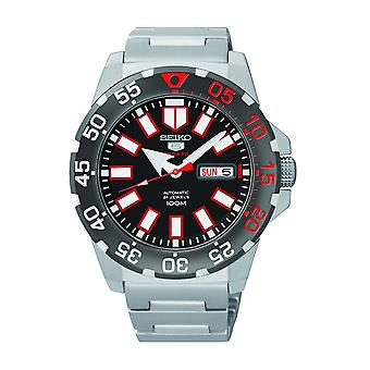 Seiko 5 Sports Automatic Monster Mens Steel Case White Steel Strap Mens Watch SRP487K1 43mm