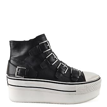 Ash JEWEL Platform Buckle Trainers Black Leather