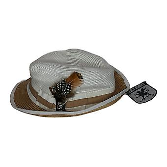 Stacy Adams Gordonville Verfraaid Fedora Tan / Wit