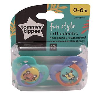 Tommee Tippee 2 Baby Soothers 0-6m 3 Fun Style Designs - Rhino & Tiger