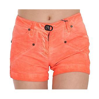 Orange Mid Waist Cotton Denim Mini Shorts -- PAN7184560