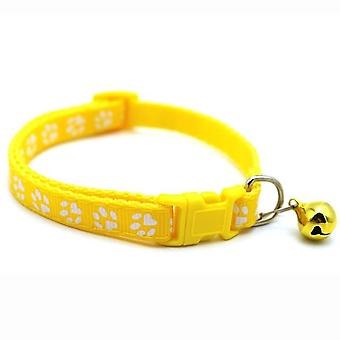 Pet Cat Cute Paw Print Chat Bell Collar Réglable Nylon Ruban Collier pour chats