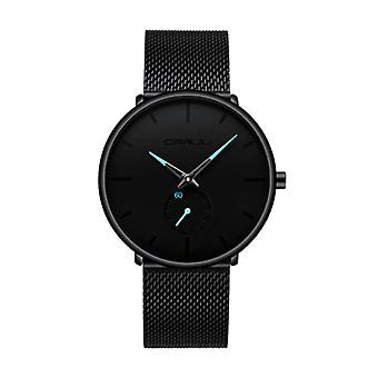 CRRJU Quartz Watch - Anologue Luxury Movement for Men and Women - Black-Blue