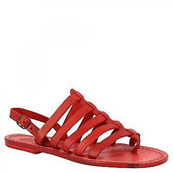 Leonardo Scarpe Donna's sandali perizoma piatti fatti a mano con ci bande in chiusura fibbia in pelle di vitello rosso